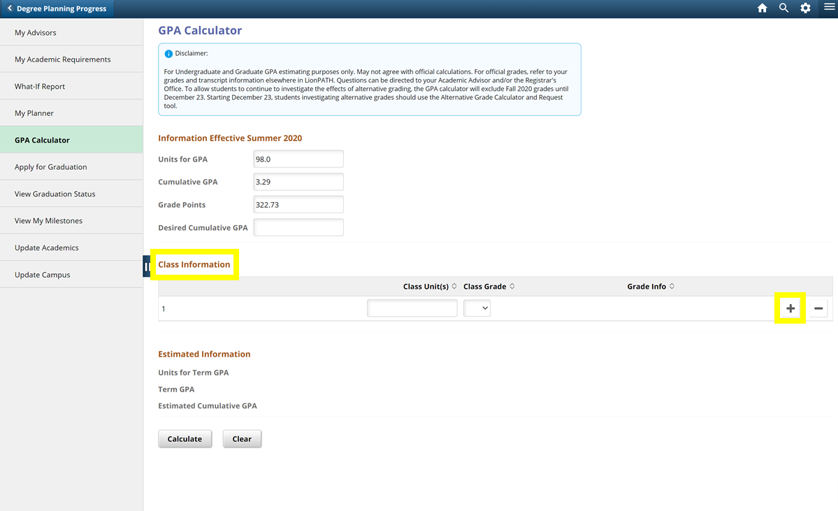 Screenshot highlighting the Class Information section in the LionPATH GPA Calculator.