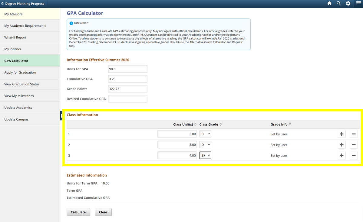 Screenshot highlighting where to enter estimate grades in the Class Information section in the LionPATH GPA Calculator.