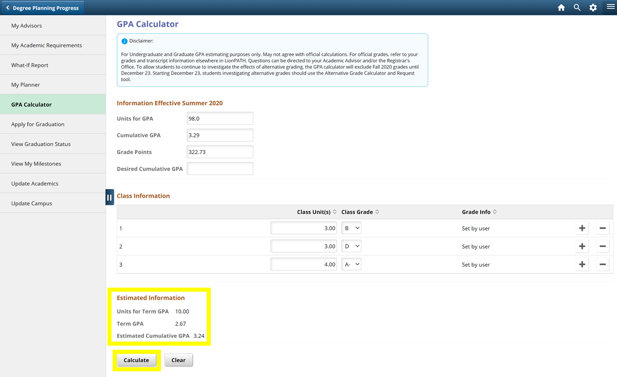 Screenshot highlighting where the estimated GPA information appears in the LionPATH GPA Calculator.