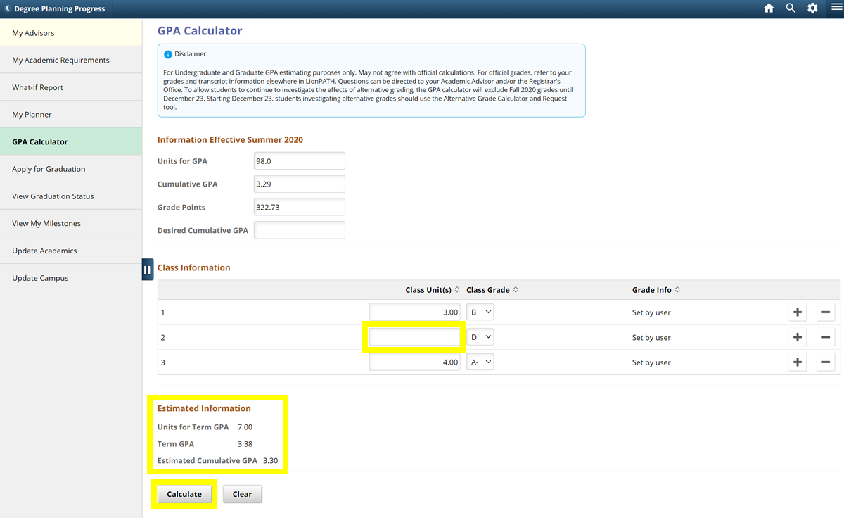 Screenshot showing how to explore the effect of using alternative grading in the LionPATH GPA Calculator.