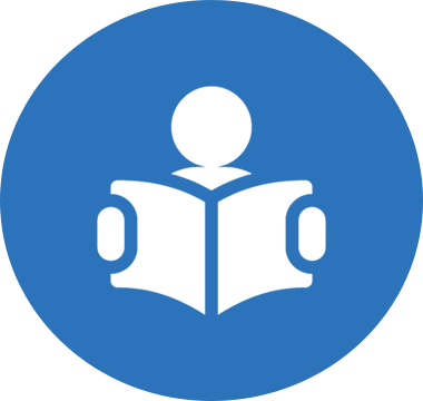 Icon image of a person reading a book