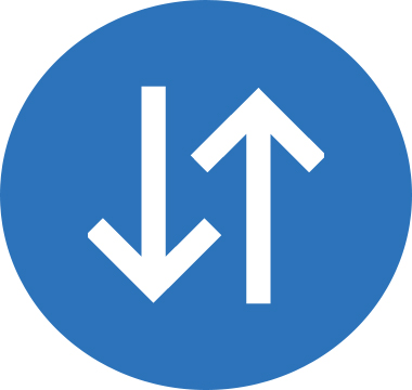 Icon image of two arrows pointing in opposite directions