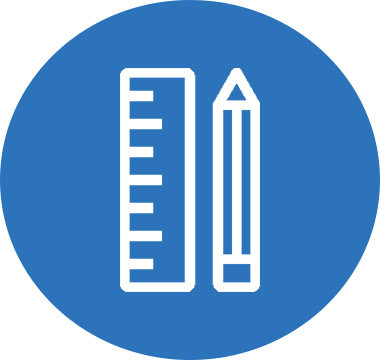 Icon image of a pencil and ruler