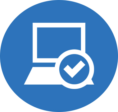 Icon image of a computer monitor with a checkmark along the side