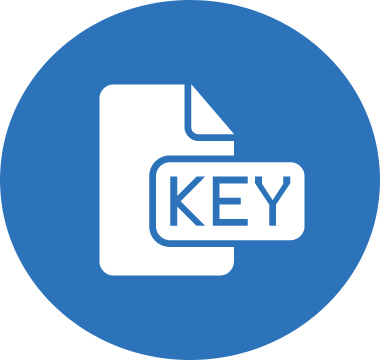 Icon image of a piece of paper with the label KEY
